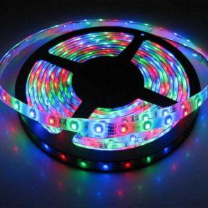 LED نواری RGB درشت 5050 60Pcs (تراکم 60 در یک متر) یک رول 5 متری شامل 300 عدد LED با ولتاژ راه اندازی 12 ولت ، دارای سطح نیمکره ای ضد آب با برچسب